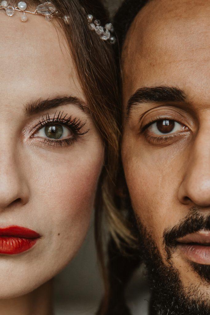 Nahaufnahmen Brautpaar Portrait Augen wunderschön